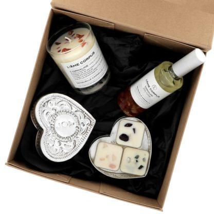 Coffret Pierres de Vie avec bougie parfumée ornée de pierres semi-précieuses